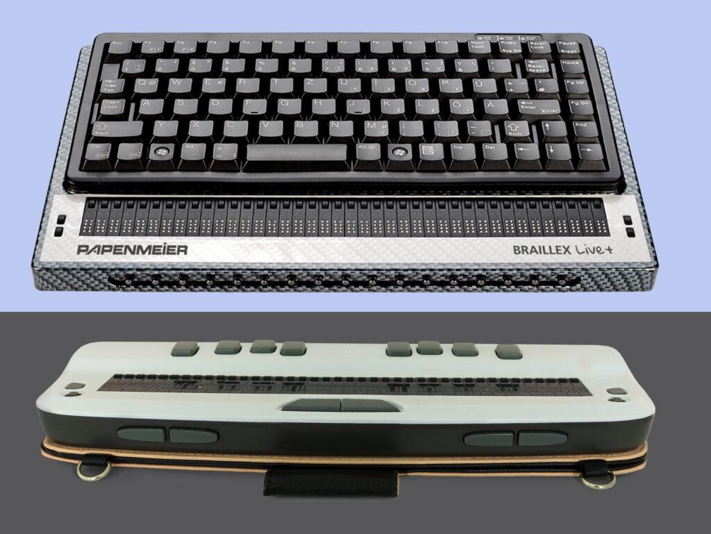 Hilfsmittel: zwei verschiedene Braillezeilen: eine mit Braille- und eine mit PC-Tastatur